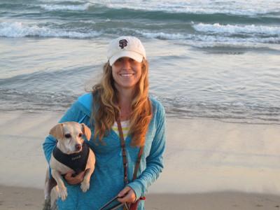 Hillary & Lucy at the Huntington Dog Beach.